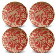 L'objet - Fortuny Uccelli Dessert Plates Red Set 4pce