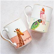 Yvonne Ellen - Giraffe & Parrot Mug Set
