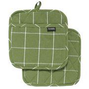 Ladelle - Eco Check Pot Holder Green Set 2pce