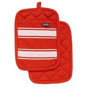 Ladelle - Butcher Stripe Series II Red Pot Holder Set 2pce