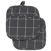 Ladelle - Eco Check Pot Holder Charcoal Set 2pce