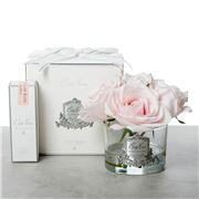 Cote Noire - Five French Pink Roses Clear Glass Jar