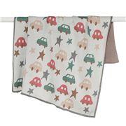 DLUX Baby - Cars & Stars Cotton Stroller Blanket Natural