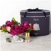 Cote Noire - Vase Oval Carmine Red Roses w/Navy Box
