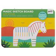 Petitcollage - Magic Sketch Board & Stencils Wild Animals