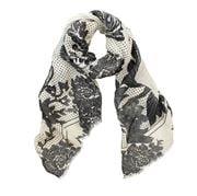 DLUX - Pompei Linen Print Scarf Natural & Charcoal