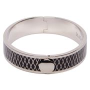 Halcyon Days -  Parterre Hinged Bangle Black/Palladium 13mm