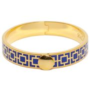 Halcyon Days - Mosaic Deep Cobalt Gold Hinged Bangle