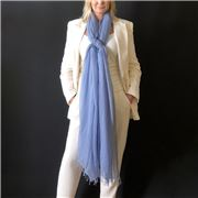 Cashmere Luxe - Cloud Cashmere Handloom Wrap Faded Denim