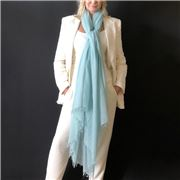 Cashmere Luxe - Cloud Cashmere Handloom Wrap Opal Blue