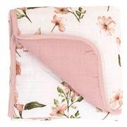 All4Ella - Muslin  Baby Blanket Pink Flower 80x80cm