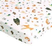 All4Ella -  Bamboo & Cotton Fitted Cot Sheet Forest 132x77cm