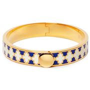 Halcyon Days - Agama Hinged Bangle Blue, Cream & Gold