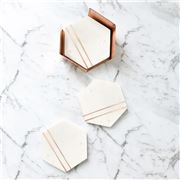 Clinq -  Copper & Marble Coaster Set 4pce