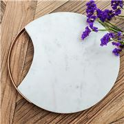 Clinq -  Marble Cheese Board With Matt Copper Handle