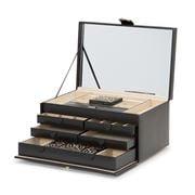 Wolf - Marrakesh Large Jewellery Box w/2 Travel Cases Black