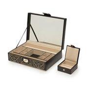 Wolf - Marrakesh Flat Jewelry Box w/Mini Travel Case Black