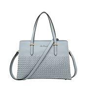 Serenade Leather - Addison Vegan Woven Detail Bag Sky