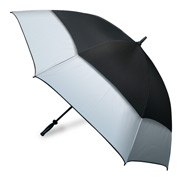 Clifton - Hurricane Black & Silver Golf Umbrella