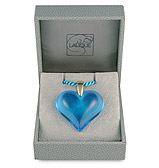 Lalique - Heart Pale Blue & Gold Large Pendant