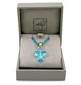 Lalique - Cross Blue & Gold Pendant