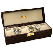 Renzo - Brown Crocodile Print Watch Box for Six Watches
