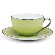 Limoges - Legle Pastel Green Teacup & Saucer Platinum