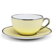 Limoges - Legle Pastel Yellow Teacup & Saucer Plat Rim
