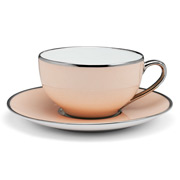 Limoges - Legle Rose Petal Teacup & Saucer Platinum