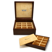 Renzo - Brown Crocodile Leather Cufflink Box 24 Compartments