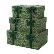 Storage Sense - Nesting Holly & Ribbons Storage Box Set 3pce