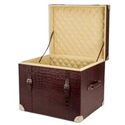 Redd Leather - Crocodile Leather Storage Trunk Chocolate