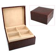 Redd Leather - Crocodile Print Leather Jewellery Box Large