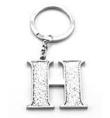 Whitehill - Silver Glitter Initial Keyring H