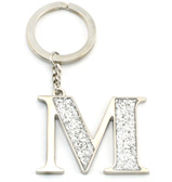 Whitehill - Silver Glitter Initial Keyring M