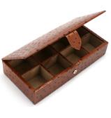 Redd Leather - Ostrich Tan Leather Cufflink Box
