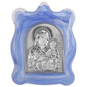 Clarte Icon - Holy Virgin Mary of Jerusalem Blue Frame 11cm