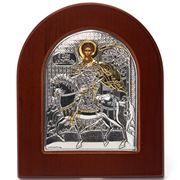 Clarte Icon - Silver Axion St Demetrios w/Gold Accents Large