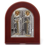 Clarte Icon - Silver Axion St Constantine & Helen Gold Large