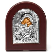 Clarte Icon - Silver Axion Holy Mary Kissing Lovingly Large