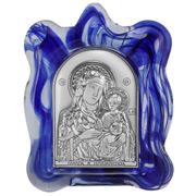 Clarte Icon - Holy Virgin Mary of Jerusalem Blue Frame 8cm