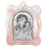 Clarte Icon - Holy Virgin Mary of Jerusalem Pink Frame 8cm