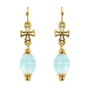 Vatican Library Collection - Venetian Aqua Cross Earrings