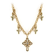 Vatican Library Collection - Delicate 5-Cross Necklace Gold