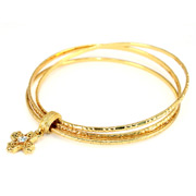 Vatican Library Collection - Gold Triple Bangle with Cross