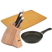 Scanpan - Classic Frypan, Knife Block & Culinary Board Combo