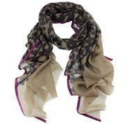 D Lux - Harper Black Printed Woollen Silk Scarf