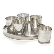 Maison - Round Tray with 5 Votive Candle Holders