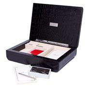 Renzo - Black Crocodile Leather Swing Bridge Game Box