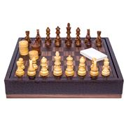 Renzo - Brown Crocodile Leather Chess Set